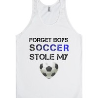 Forget boys, Soccer stole my heart-Unisex White Tank