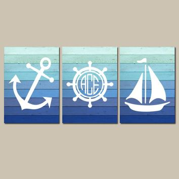 Nautical Wall Art, Nautical Bathroom Decor, Monogram CANVAS or Print, Coastal Decor, Blue Ombre Wood Effect, Anchor Sailboat Wheel Set of 3