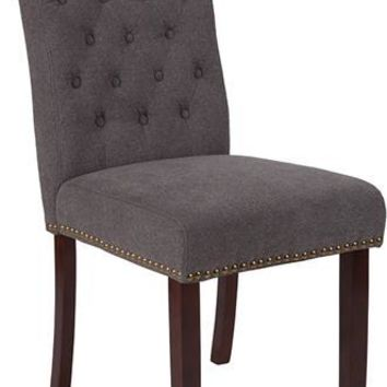 HERCULES Series Dark Gray Fabric Parsons Chair with Rolled Back, Accent Nail Trim and Walnut Finish