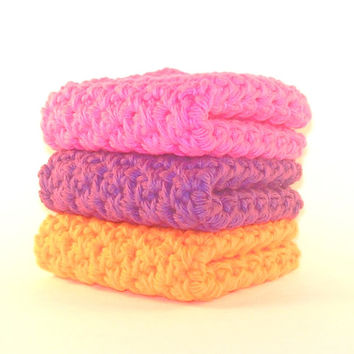 Set of Three Kids Bath Cotton Crochet Washcloths in Hot Pink Purple and Orange handmade with 100% All Natural Cotton