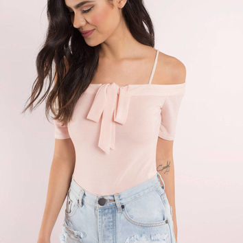 Tied Up Right Now Off Shoulder Bodysuit