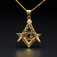 "Gold Plated Hip Hop Iced Out Pendant G Necklace Initial Masonic Symbol Compass Free Mason Men's 24"" Cuban Chain Necklace"