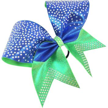 Two color mystique bow with rhinetones.