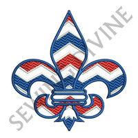 Embroidery Design CHEVRON FLEUR de lis 4x4 5x7 6x10 Inch Sizes 8 Formats Instant Download