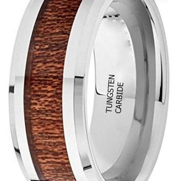 CERTIFIED 6MM, 7MM, 8MM TUNGSTEN CARBIDE KOA RING
