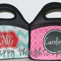 Monogrammed Lunch Bag Tote - Personalized Lunch Box - Choose your Design and Colors