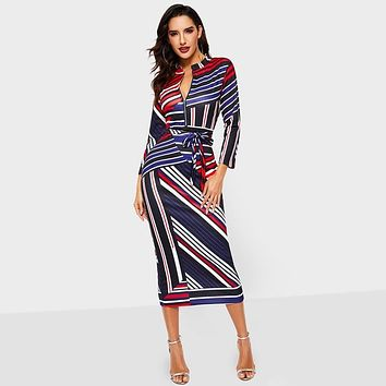 Vintacy Women Striped Dresses Sexy Office Ladies Work Wear Bodycon Zipper V Neck Tunic Female Elegant Summer Tight Midi Dress