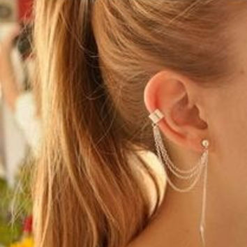 Metal ear clip single leaf tassel earrings cuff ear cuffs jewelry
