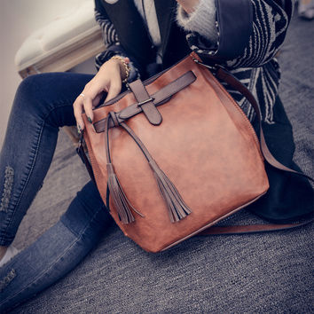 Bags Autumn Ladies Simple Design Vintage Tassels One Shoulder Messenger Bags [6582269767]