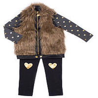 Betsey Johnson Girls 3 Piece Black Faux Fur Vest, Heart Printed Top with Matching Leggings Set - Infant/Toddler