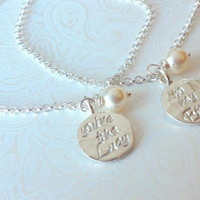 You're the Lucy..to my Ethel......Best Friend Bracelets-Thai Silver Handstamped Set-Gift for Best Friend/BFF Gift