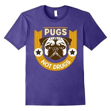 Pugs Not Drugs Funny Pet Lover Dabbing Novelty T-Shirt