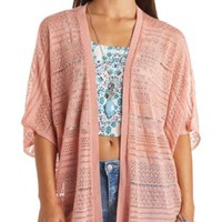 Pointelle Knit Open Kimono Cardigan by Charlotte Russe