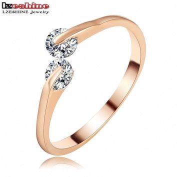 LZESHINE Delicate Eternal Knuckle Ring Rose Gold /Silver Color Twin Zircon CZ Engagement Lovers Rings for Women CRI0115