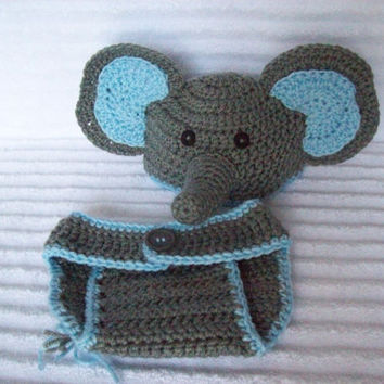 Baby Elephant hat and diaper cover, from Nikkis Craft Shoppe