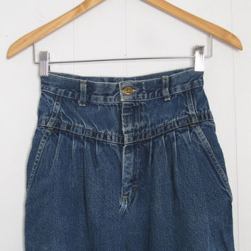 Vintage 80s High Waisted Mom Jeans Pleated Tapered Leg Lee Dark Blue Denim 23""
