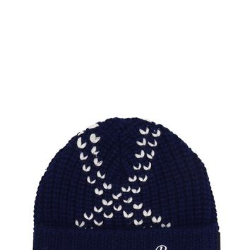 Crossed Blue Beanie by RAF SIMONS