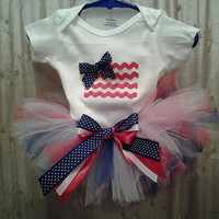 Fourth of July tutu outfit set with applique american flag Onesuit, Independence day, 4th of July, pride, stars and stripes