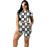 FILA 2019 new women's plaid print sports suit two-piece