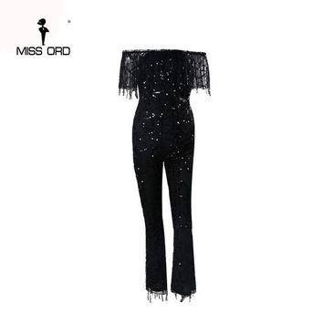 CUPUP9G Free Shipping Missord 2017 Sexy Word shoulder sequin jumpsuit FT4380