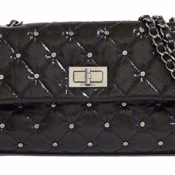 Auth CHANEL Flap Bag 2.55 Quilted Coco Mark Studs W Chain Shoulder Bag (390422)