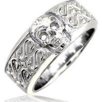 Mens or Ladies Wide Skull Ring, Wedding Band with S Pattern, 9mm in 10k White Gold - size 16.25