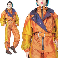 1980s Ski Snow Suit Womens Neon Snowsuit One Piece Hipster Sportswear Snowboarding Suit Orange Color Block Winter Sport Gear Jumpsuit (M)
