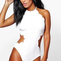 Cara Scallop Edge Cut Out Waist Body
