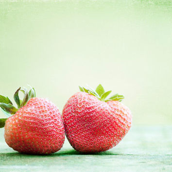 "Fruit Photography - strawberries red light green kitchen decor food photo strawberry wall art print mint - 8x10 Photograph, ""Berry-licious"""