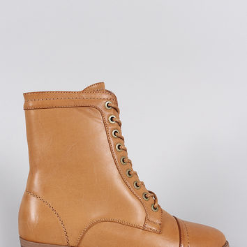 Bamboo Pointy Toe Flat Lace Up Boot