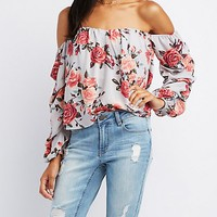Ruched-Sleeve Off-The-Shoulder Top