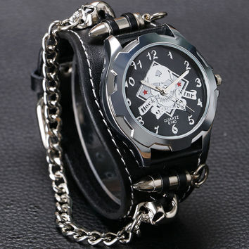 New Arrival Cool Punk Bracelet Quartz Watch Wristwatch Skull Bullet Chain Gothic Style Analog Leather Strap