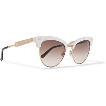 Gucci - Cat-eye gold-tone and acetate sunglasses