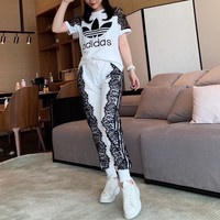 """Adidas"" Woman Lace Simple Stripe Letter Casual Fashion Short Sleeve Trousers Two-Piece Set Sportswear"