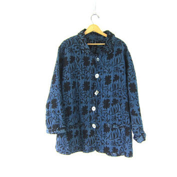 vintage fabric coat. long puffy blue and black jacket. batik print. oversized baggy button down coat. reversible coat. L XL