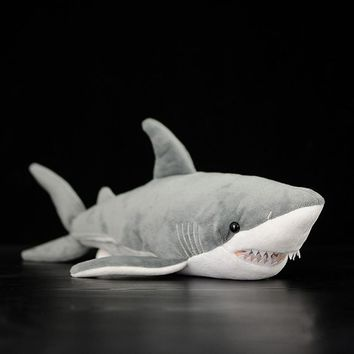 "16"" Lifelike Great White Shark Stuffed Toy Soft Shark Plush Toys Simulation Ocean Animal Toy Christmas Gifts For Kids"
