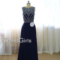 Custom Made A-line round neckline dark blue Long Prom Dress, Evening Dresses, Prom Dress 2015, Formal Dresses