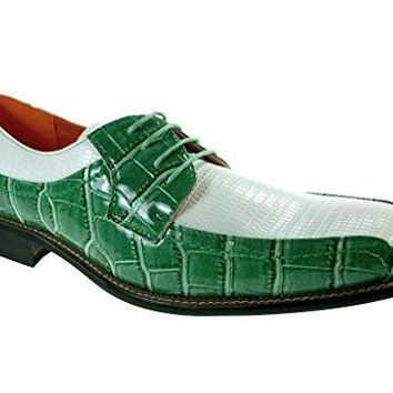 Ferro Aldo Men's 109216 Faux Alligator Lace Up Oxfords Shoes Green