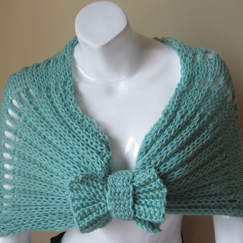 Capelet with bow, shrug, shawl, infinity scarf, cowl, poncho, MINT capelet, scarf, wrap scarf, stole