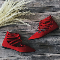 Tempo Lace Up Flats (Red)