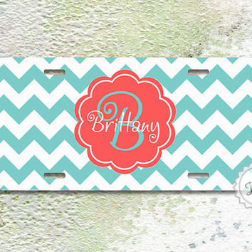 License Plate - Tiffany blue chevron with Cute Curly Coral monogram, personalized metal car tag - 338