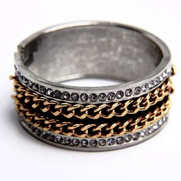 Chain Gunmetal Enamel Crystal Bangle Bracelet