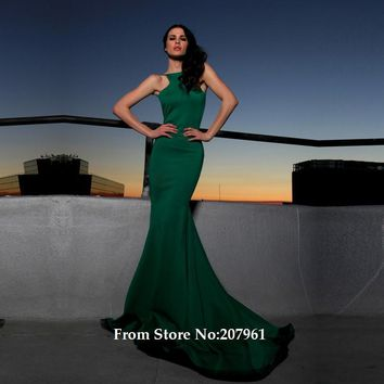 Bateau Sexy Backless abendkleider robe de soiree Long Evening Gowns vestido de festa Green Mermaid Prom Dresses Vestido De Festa