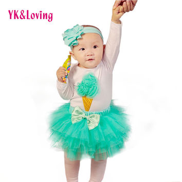 2016 Saias Skirt Set Mesh Tutu Skirts For Infants with Ice Cream Pattern Bodysuit 4pcs Set Tutu Skirts Girls Birthday Clothing