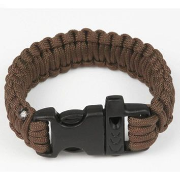 Outdoor Camping Men Self-Rescue Paracord Parachute Cord Bracelets Emergency Survival Rope Whistle Scraper Buckle Hiking Tools