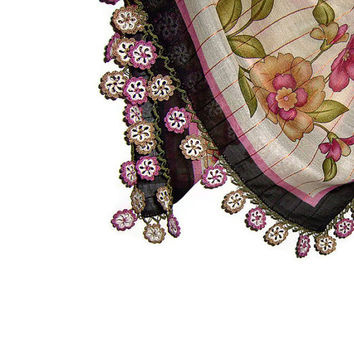 Traditional Turkish Yemeni Rayon (artificial silk) Scarf With Crochet Lace, Black / Pink / Brown / Green / Ivory Floral Pattern