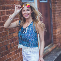 Abstract Floral Tank Top in Blue
