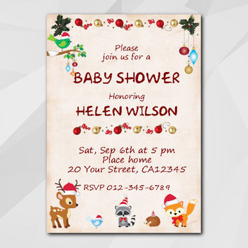 Christmas Baby Shower Invitation, Instant Download Editable PDF, Woodland
