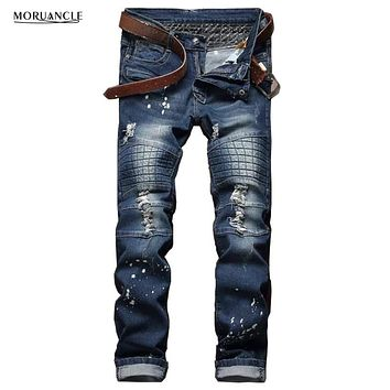 2017 Fashion Mens Biker Jeans Trousers Brand Designer Ripped Denim Pants For Man Washed Straight Distressed Jean Joggers E0031