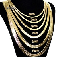 Mens Herringbone Yellow 14k Gold Plated 4 To14mm Wide 20' 24' 30' Chain Necklace